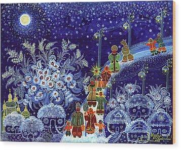 Merry Christmas Wood Print by Marfa Tymchenko