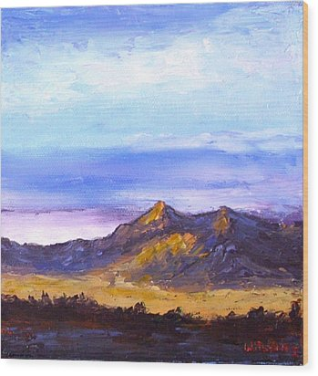 Wood Print featuring the painting Mesa Sunset by Fred Wilson