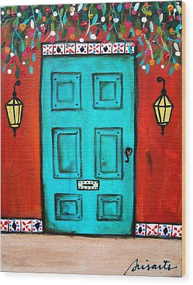 Mexican Door Painting Wood Print