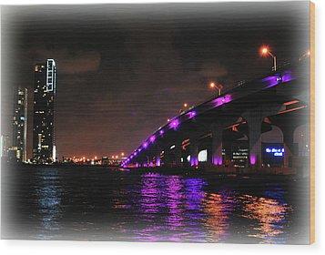 Miami Skyline At Night 2 Wood Print by Amanda Vouglas