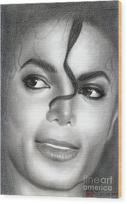 Wood Print featuring the drawing Michael Jackson #eight by Eliza Lo