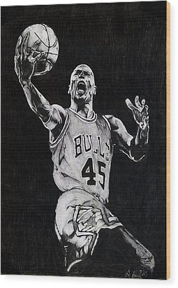 Michael Jordan Wood Print by Hari Mohan