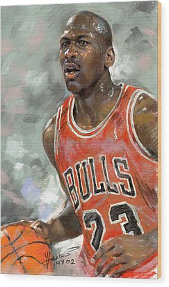 Michael Jordan Wood Print by Ylli Haruni