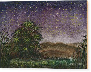 Midnight At The Oasis Wood Print