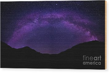 Wood Print featuring the photograph milky way above the Alps by Hannes Cmarits