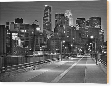 Minneapolis Skyline From Stone Arch Bridge Wood Print by Jon Holiday
