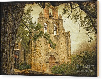 Mission Espada Wood Print by Iris Greenwell