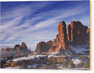 Mist Rising In Arches National Park Wood Print by Utah Images