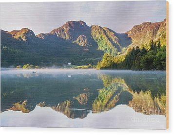 Wood Print featuring the photograph Misty Dawn Lake by Ian Mitchell