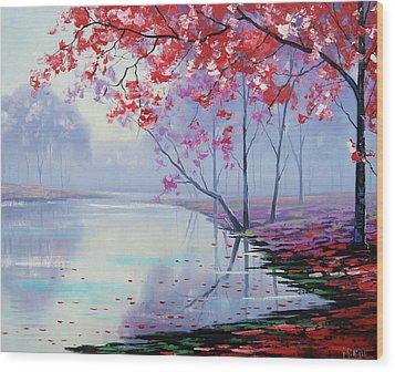 Misty Lake Wood Print by Graham Gercken