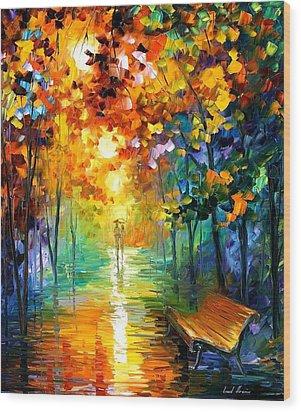 Misty Park Wood Print by Leonid Afremov