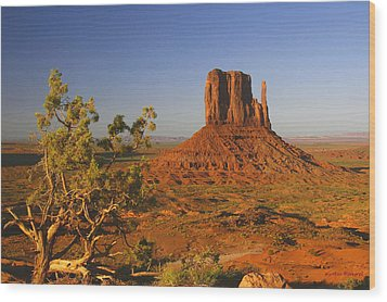 Mitten And Juniper Wood Print by Winston Rockwell