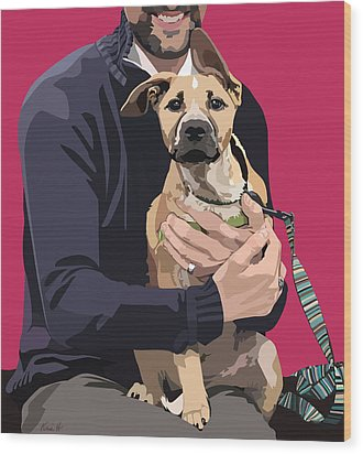 Mixed-breed Puppy Wood Print by Kris Hackleman