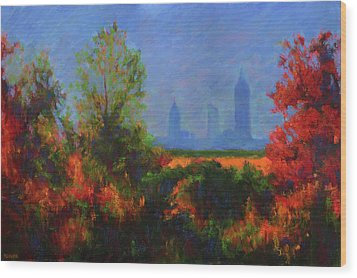 Mobile Skyline From Felix's Wood Print by Vernon Reinike