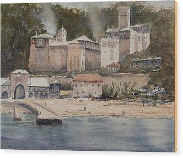 Monastery Agionoros Mount Athos Greece Wood Print