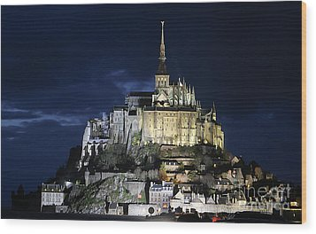 Mont St. Michel At Night Wood Print by Joshua Francia