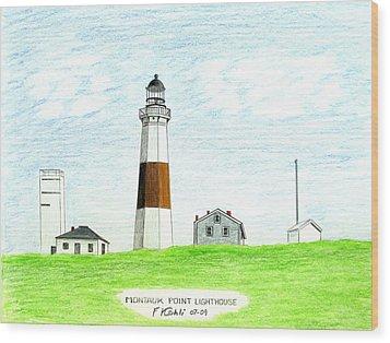 Montauk Point Lighthouse Wood Print by Frederic Kohli