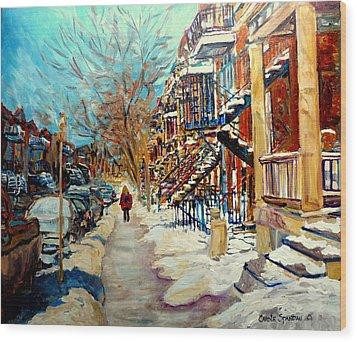 Montreal Street In Winter Wood Print by Carole Spandau