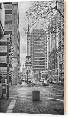 Wood Print featuring the photograph Monument Circle by Howard Salmon