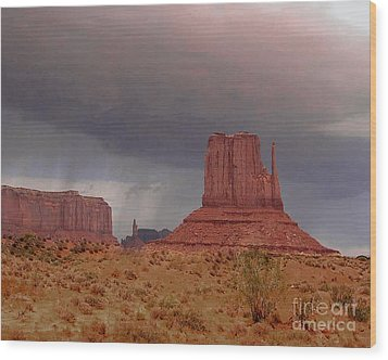 Monument Valley - Rain Coming Wood Print by Merton Allen