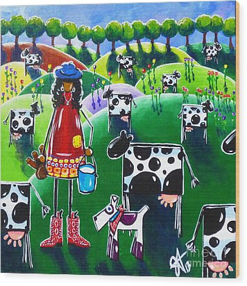 Moo Cow Farm Wood Print by Jackie Carpenter