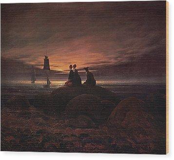 Moon Rising Over The Sea Wood Print by Caspar David Friedrich