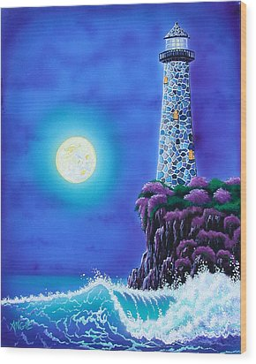 Moonlight Vigil Wood Print by Angie Hamlin