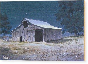 Moonlit Barn Wood Print