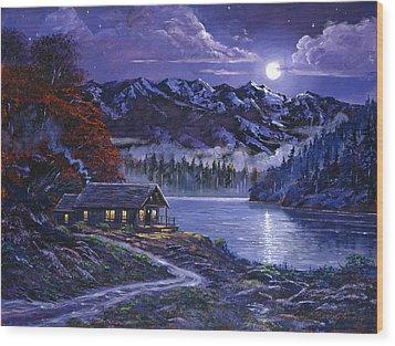 Moonlit Cabin Wood Print by David Lloyd Glover