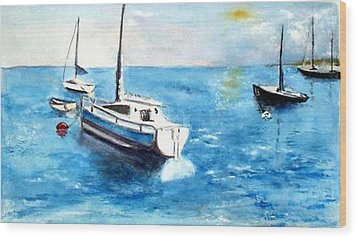 Wood Print featuring the painting Moored Boats by Sibby S