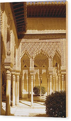 Moorish Architecture In The Nasrid Palaces At The Alhambra Granada Wood Print by Mal Bray