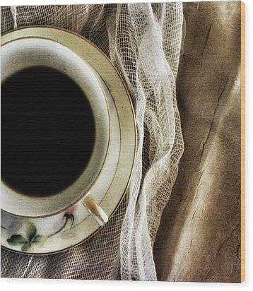 Wood Print featuring the photograph Morning Coffee by Bonnie Bruno