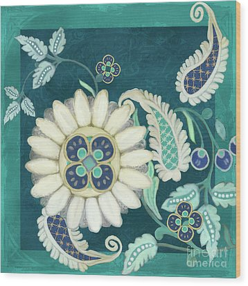 Wood Print featuring the painting Moroccan Paisley Peacock Blue 1 by Audrey Jeanne Roberts