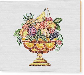 Mosaic Fruit Vase Wood Print by Irina Sztukowski