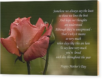 Wood Print featuring the photograph Mother's Day Card 5 by Michael Cummings