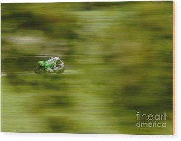 Motorcycle Racing Wood Print by Peter Hatter