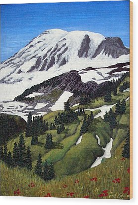 Mount Rainier Wood Print by Frederic Kohli