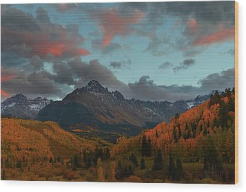 Wood Print featuring the photograph Mount Sneffels Sunset During Autumn In Colorado by Jetson Nguyen