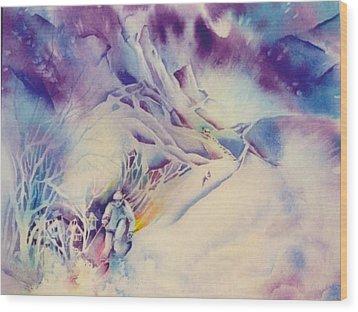 Mountain-freedom Wood Print by Nancy Newman