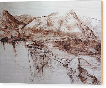 Wood Print featuring the drawing Mountains In Snowdonia by Harry Robertson