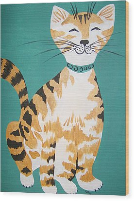 Mr. Tabby Wood Print by Leslie Manley