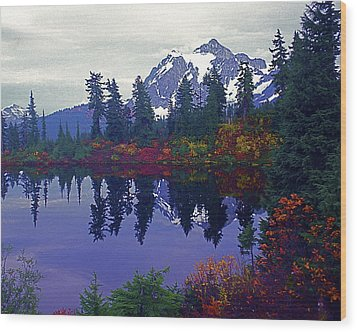 Mt. Shuksan - Picture Lake Wood Print