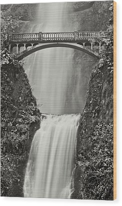 Multnomah Falls Upclose Wood Print by Don Schwartz