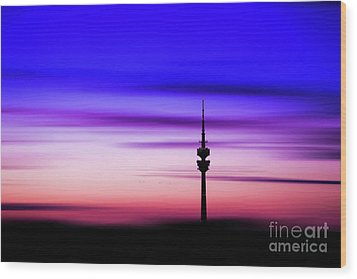 Wood Print featuring the photograph Munich - Olympiaturm At Sunset by Hannes Cmarits
