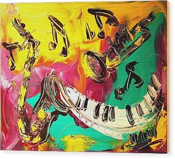 Music Jazz Wood Print by Mark Kazav