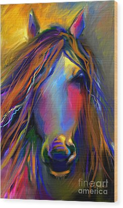 Mustang Horse Painting Wood Print by Svetlana Novikova