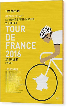 My Tour De France Minimal Poster 2016 Wood Print by Chungkong Art