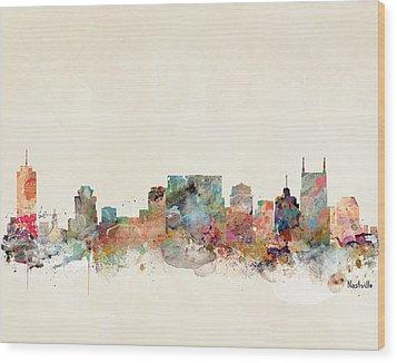 Nashville Tennessee Skyline  Wood Print