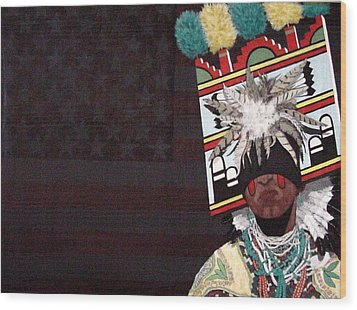 Wood Print featuring the painting Native Dancer by Bernard Goodman