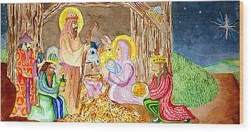 Nativity Wood Print by Jame Hayes